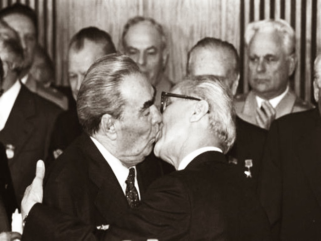 The Socialist Fraternal Kiss between Leonid Brezhnev and Erich Honecker 1979