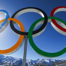 SOCHI, RUSSIA - FEBRUARY 04:  A general view of the Olympic rings during training ahead of the Sochi 2014 Winter Olympics at the Laura Cross-Country Ski and Biathlon Center on February 4, 2014 in Sochi, Russia.  (Photo by Al Bello/Getty Images)