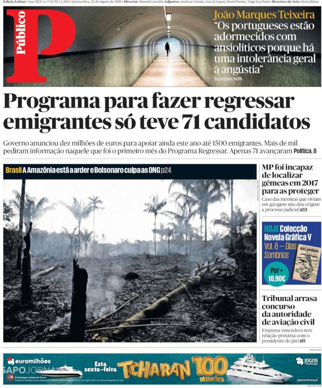 Amazônia arde na capa do Público de hoje